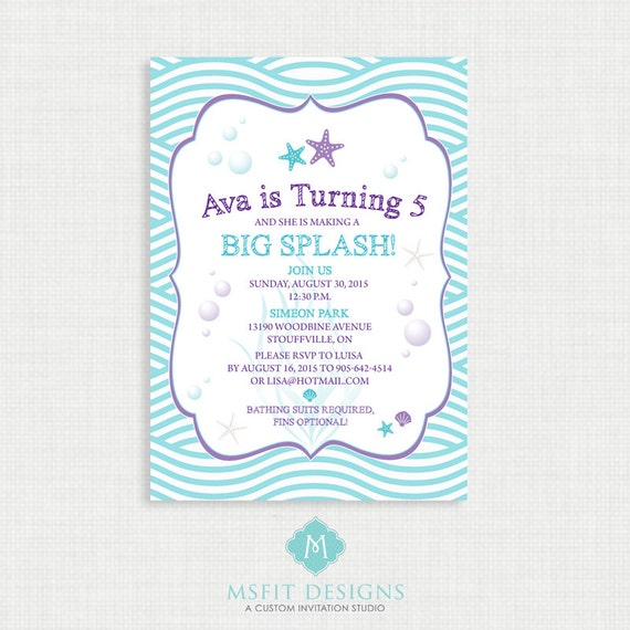 Printable Birthday Invitation- Under the Sea Birthday Invitation, Starfish Birthday Party Invitations, Coral, DIY,  Printable Template