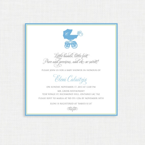 Baby Shower Invitation- Baby Pram Shower Invitation- Baby Boy Shower Invitations/PRINTABLE