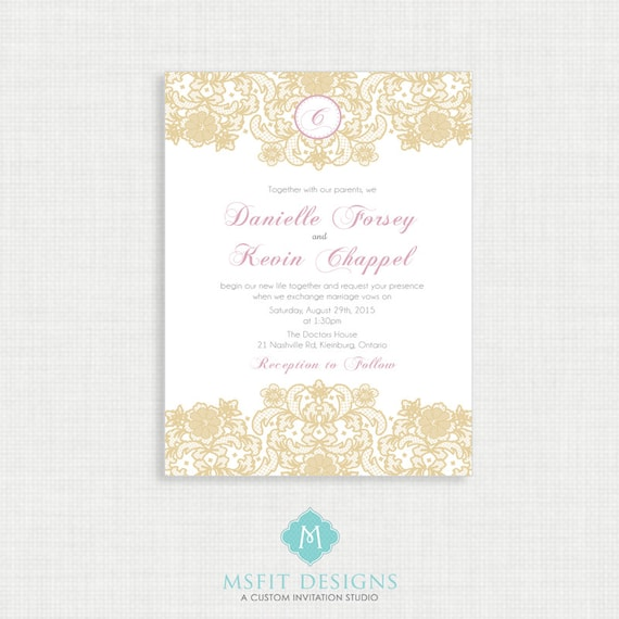 Gold and Blush Wedding invitation-Lace Wedding Invitation RSVP Card Included- Printable Invitation