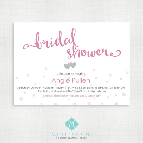 Printable Bridal Shower Invitation - Bridal Shower,  DIY, Printable, Wedding, Pink, Script
