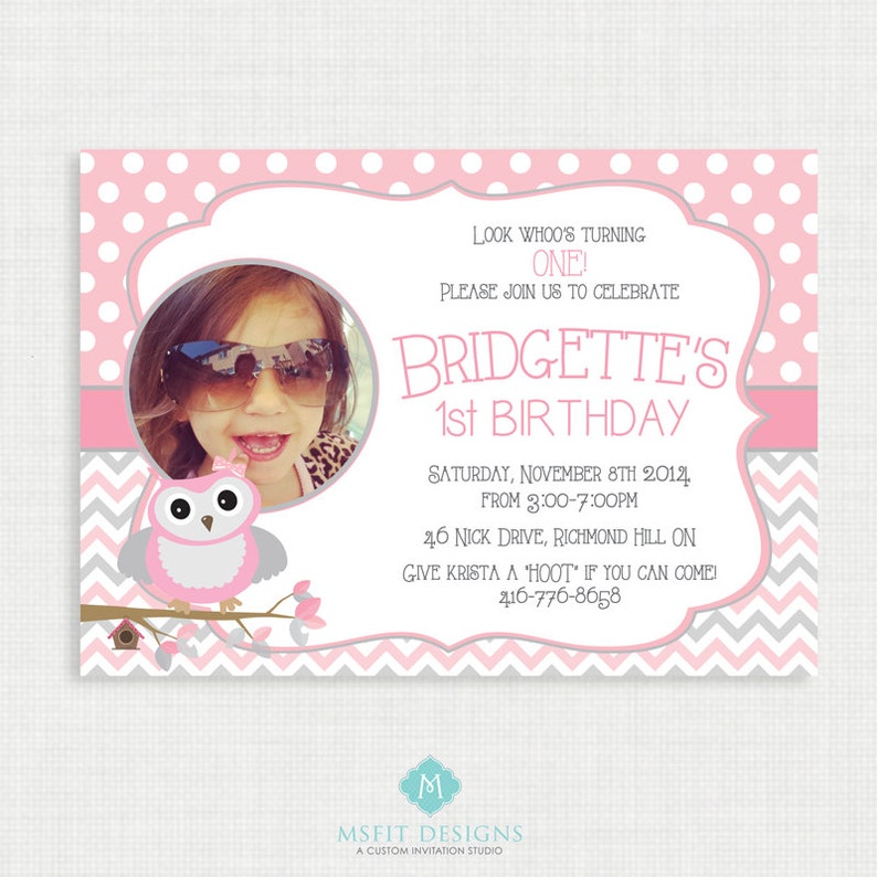 Printable Birthday Invitation Picture Owl