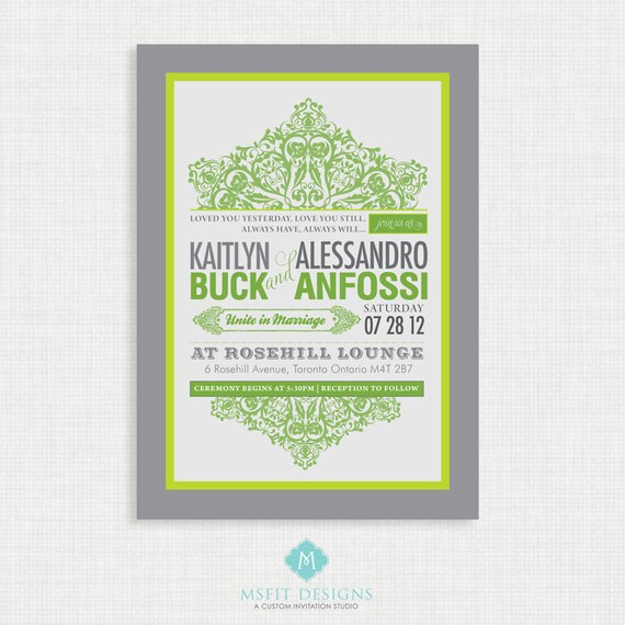 Printable Wedding Invitation with RSVP card, vintage green and grey - colours customisable Digital File