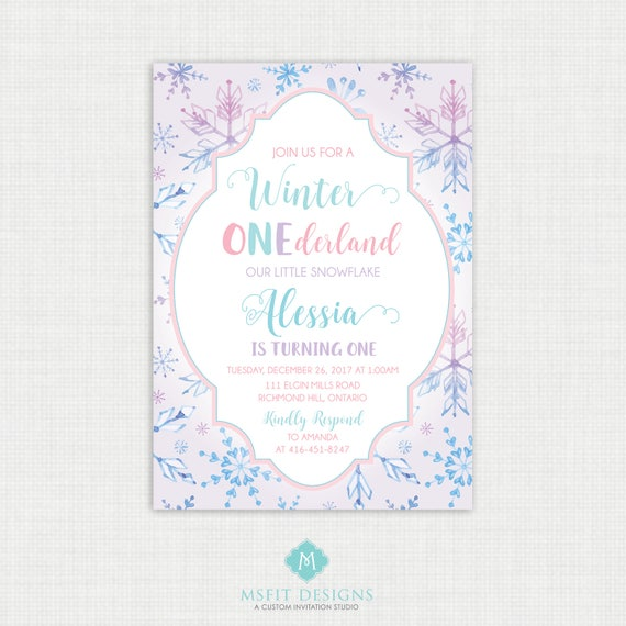Winter Onederland Invitation Printable - Winter Wonderland Birthday Party - Winter Onederland Birthday - Snowflake Birthday Invite