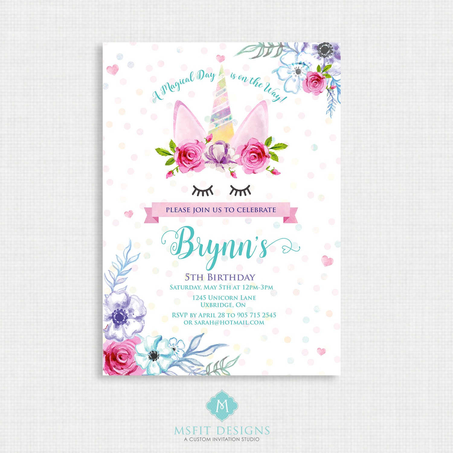 Unicorn Party Invitation, Unicorn, Unicorn Birthday Invitation ...
