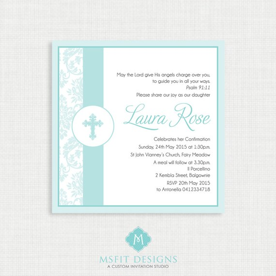 Printable Baptism Invitation- Girl Baptism Invitation - Demask Baby Invitations - Dedication, First Communion, Confirmation, Christening