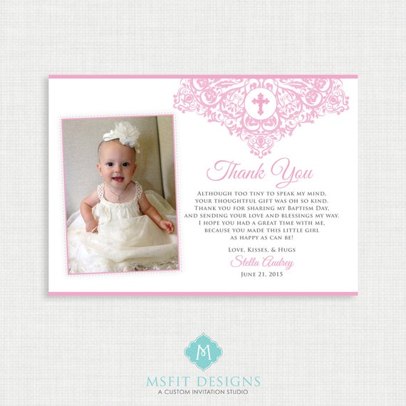 Printable Baptism Thank You Card -  Printable thank you card - Unisex Baptism/Blessing/Christening, Girl Thank you