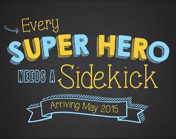 Printable Birth Announcement - 11x14 - Cute Baby Announcment - Superhero - Chalkboard Poster