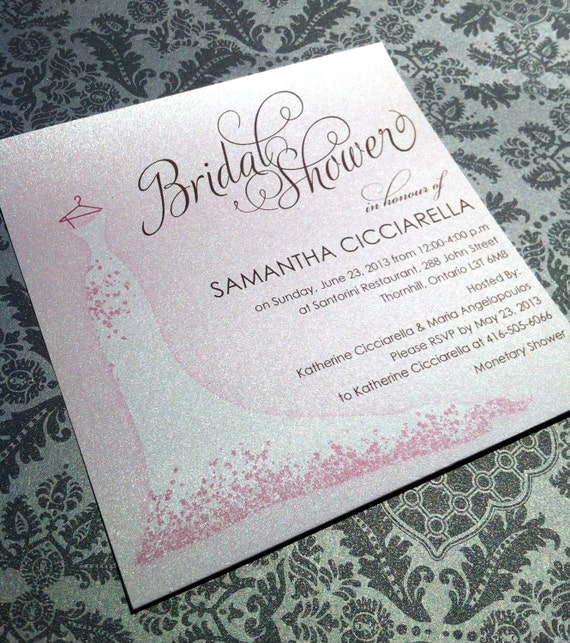 Printable Bridal Shower Invitation - Bridal gown invitation,  DIY, Printable, Wedding, Pink, Bridal Gown, Script