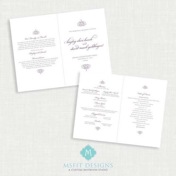 Printable Wedding Program - ALL COLORS Available - You Print - Double Sided 8.5x11