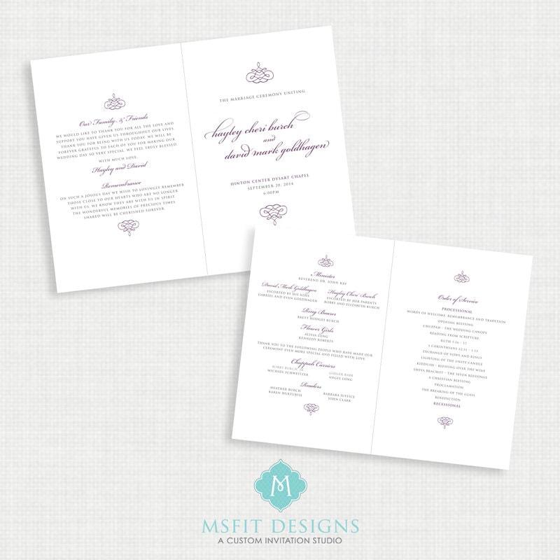 printable wedding program all colors available you print