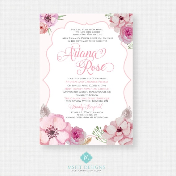 Printable Baptism Invitation- Watercolor Girls Baptism Invitation - Baby Dedication, First Communion, Confirmation, Christening