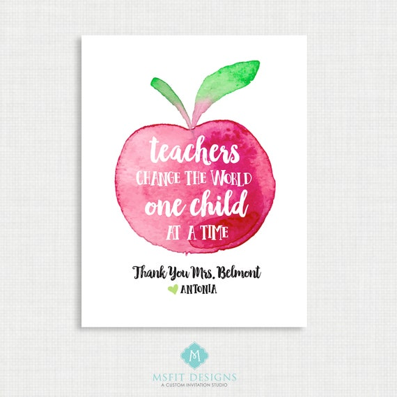 Teacher Gift - Apple Print - Classroom Print - Digital File 8x10