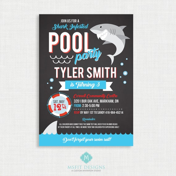 Shark Party Invitation, Shark Pool Party, Shark Birthday Invitation, Birthday Party, Pool Party Invitation, Shark Party, Printable
