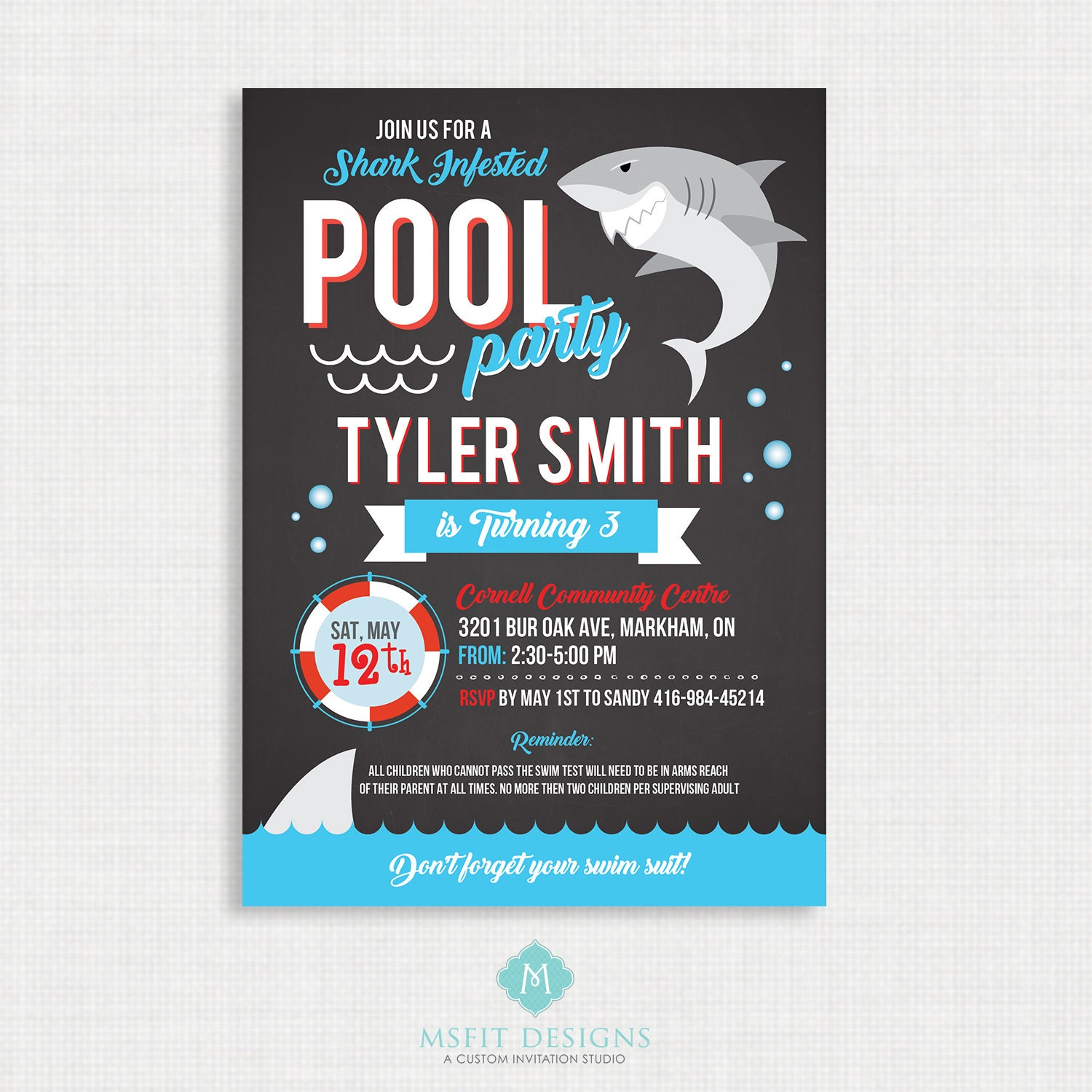shark party invitation shark pool party shark birthday invitation