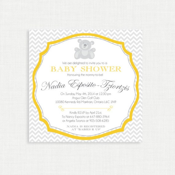 Printable Baby Shower Invitation-Chevron Baby Shower Invitation, Gender Neutral Baby Shower Invitation