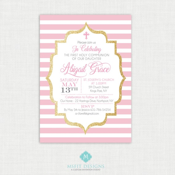 Printable Baptism Invitation- Girl Baptism Invitation - Baby Dedication, First Communion, Confirmation, Christening - Printable invitation
