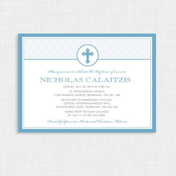 Printable Baptism Invitation- Boy Baptism Invitation - DIY Printable Invite - Christening, First Communion, Dedication, Baby Blessing