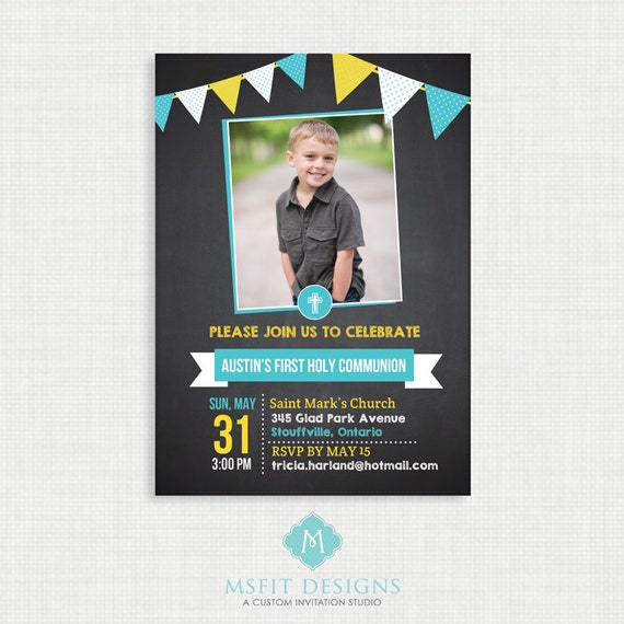 Chalkboard  Baptism Invitation- Boy Baptism Invitation - Baby Dedication, First Communion, Confirmation, Christening - Bunting