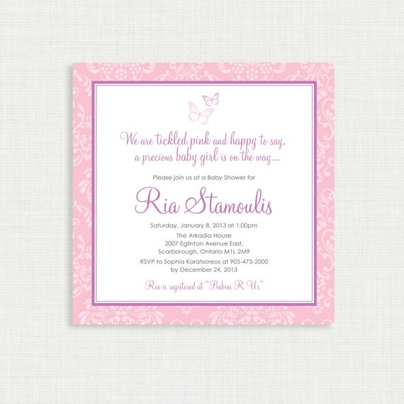 Printable Baby Shower Invitation- Girl Baby Shower Invitation - Butterfly Baby Shower - Baby Girl Invitation