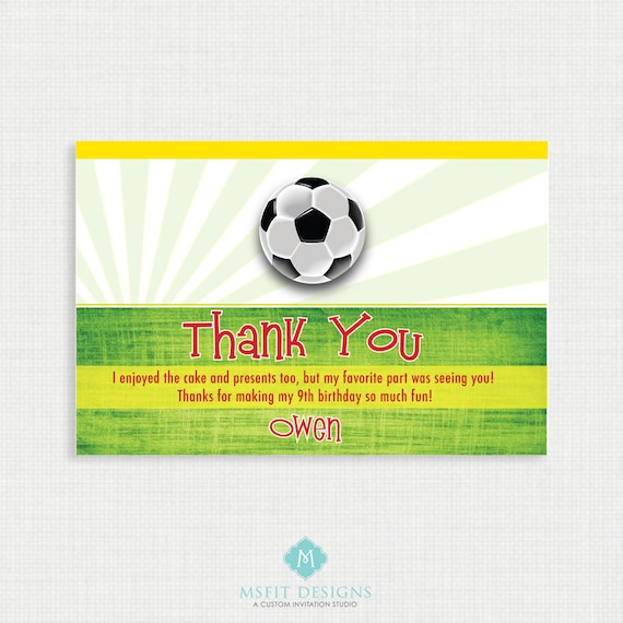 Printable Birthday Invitation Soccer Thank You
