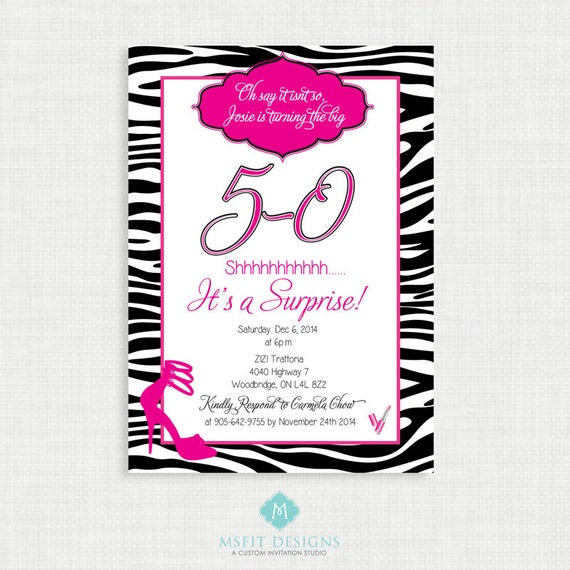 Printable Birthday Invitation 50th Birthday Invitation Party