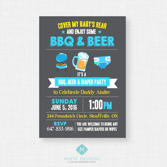 Beer and Diaper Party Invitation, Diaper Party Invite, For Men & Women, Co-ed Baby Shower Invite, Digital File, Chalkboard
