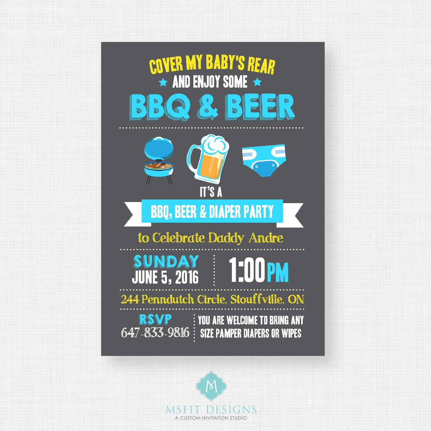 Beer and Diaper Party Invitation Diaper Party Invite For Men