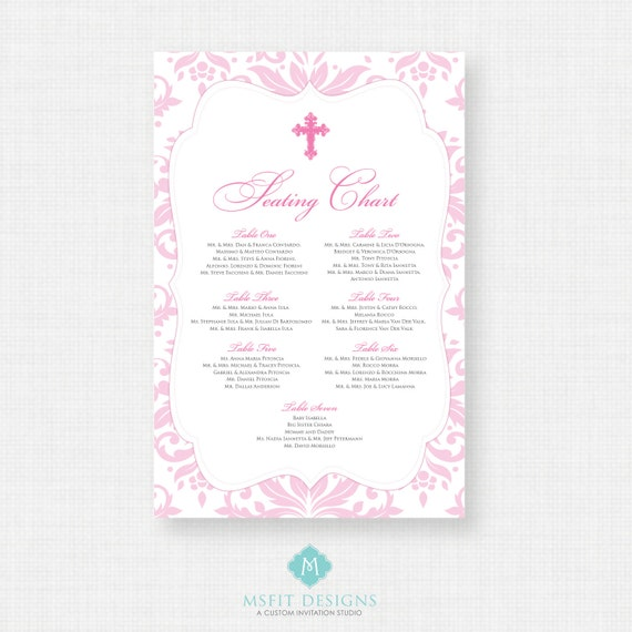 Baptism Seating Chart - Christening Seating Chart - Table Seating - Guest Seating