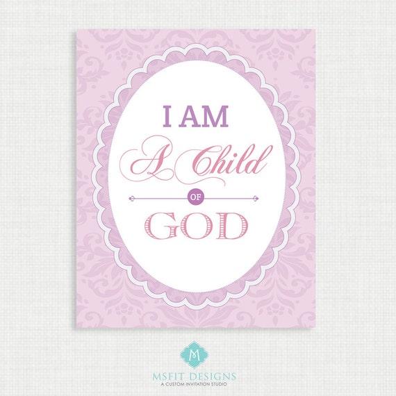 Nursery Wall Decor - I am a child of god - Bible Verse Prints - Nursery Room Decor - Wall Art