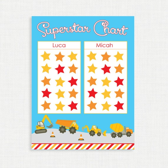 Printable Chore Chart- Superstar Chart - Truck Star Chart - Weekly Star Chart - Children Chart - Routine charts-  Reward Chart