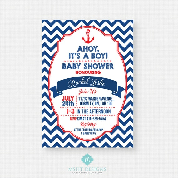 Nautical Baby Shower Invitation - Ahoy Its A Boy - Navy and Red - Chevron - Printable