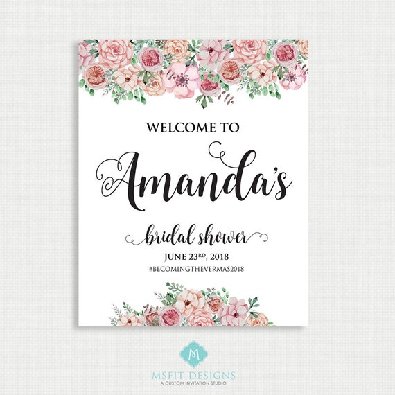 Welcome Wedding Sign, Welcome Bridal Shower Sign, Boho, Floral, Printable, Welcome To Our Wedding, Watercolor, Printable Any Size