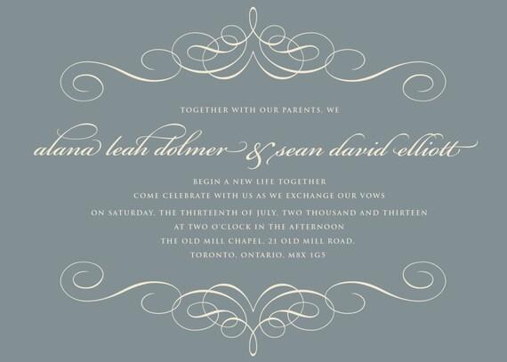 Printable Wedding Invitations - Wedding Invitation, Grey, DIY printable invitation, Digital File
