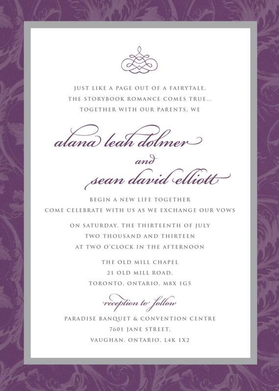 Printable Wedding Invitation - Purple Grey Flourish Wedding Invitation with RSVP, Elegant, Sophisticated, DIY, Printable, RSVP, Swirls