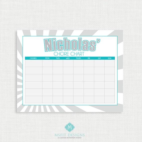 Printable Chore Chart- Chore Chart - Routine Chore Charts - Weekly Chore Chart - Children Chart - Routine charts-  Reward Chart