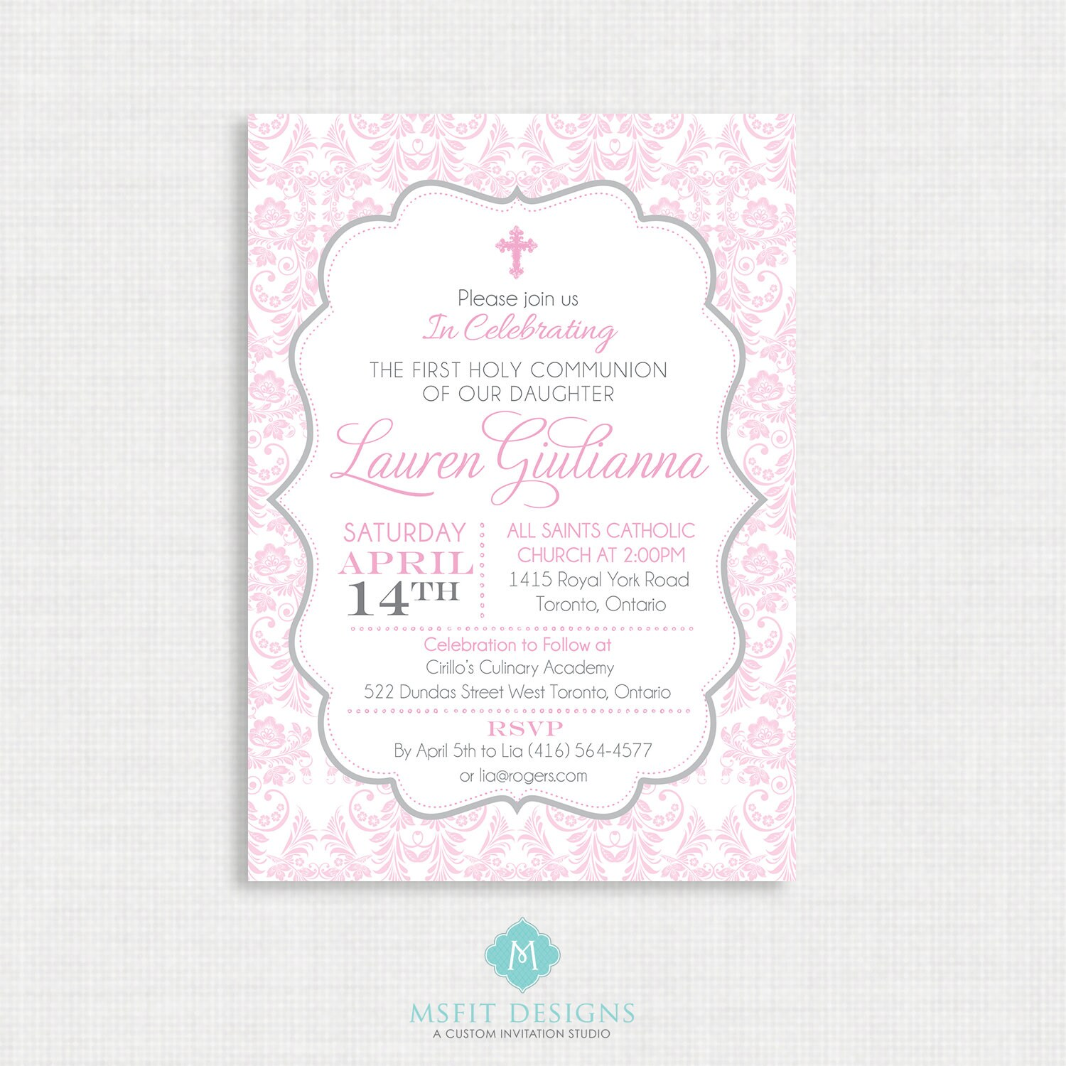 Printable Baptism Invitation- Girls Baptism Invitation - Baby ...