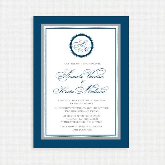 Printable Wedding Invitation - Wedding invitation template- Monogram Wedding Invitations - Printable Wedding invitations