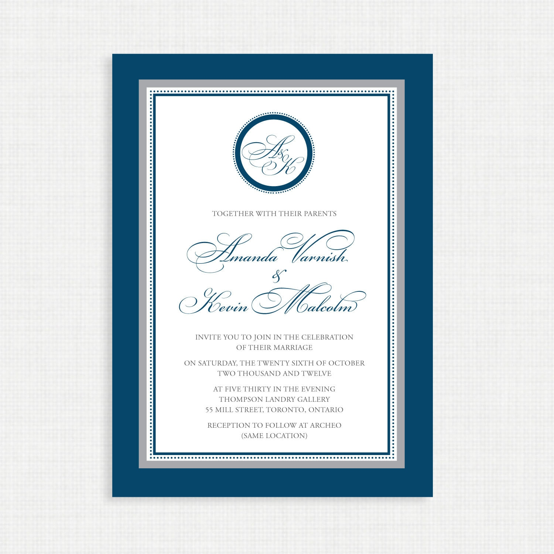 Printable Wedding Invitation - Wedding invitation template- Monogram ...