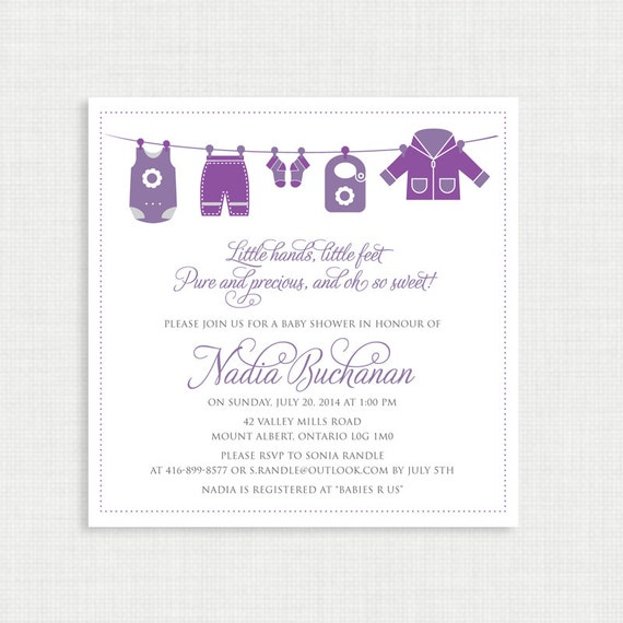 Printable Baby Shower Invitation- Shower Invitation - Printable Baby Shower Invitation - Baby clothing line - Baby Girl Invitation