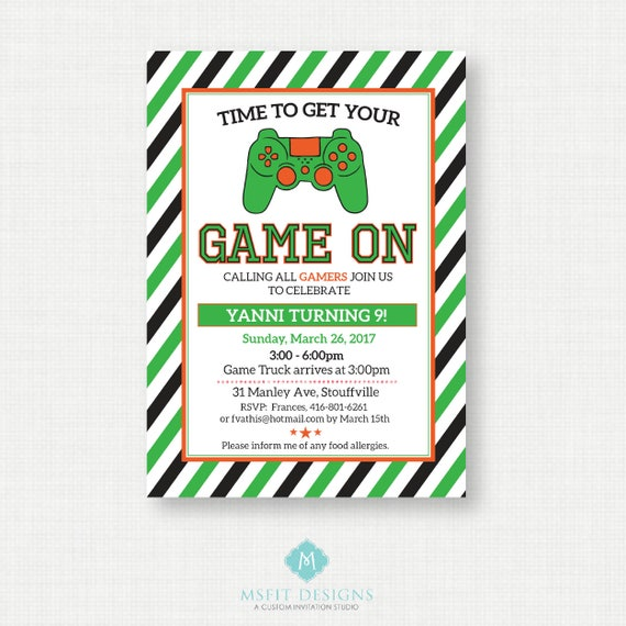 Video Game Birthday Party Invitations - Video Game Invitations - Video Game Party Ideas - Game On - Game Truck Party