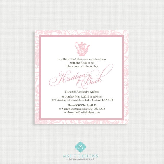 Printable Wedding Shower Invitation- Bridal Shower Tea Party - Lace Invitation - Printable bridal tea invitation