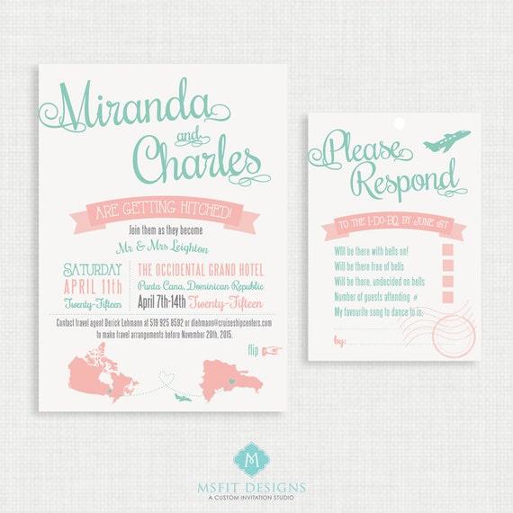Printable wedding invitation with RSVP Card- Destination Wedding Invitation- Invitation Template- Customizable Invitation