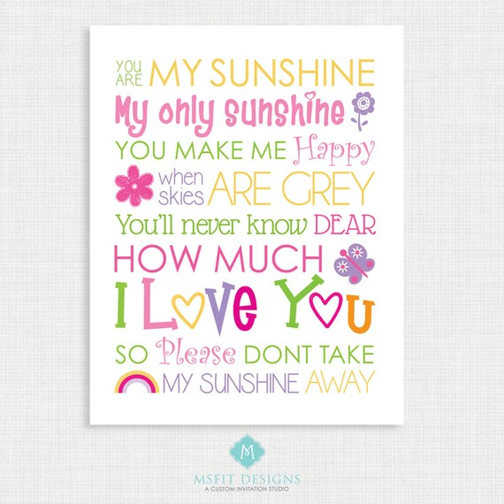 Nursery Wall Decor - Sunshine Wall Art- You are my sunshine Print - Nursery Poster - Wall Decor  -11x14 instant Digital Download