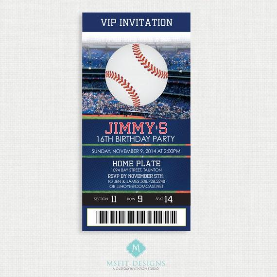 Printable Birthday Invitation- Baseball Birthday Invitation - Colours Customizable, Baseball Birthday