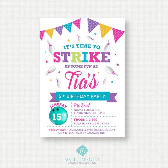 Printable Birthday Invitation- Bowling Birthday Invitation, Bowling Birthday Party Invitations,  Printable Template, Digital
