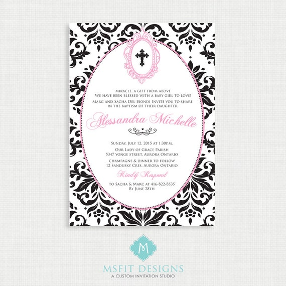 Printable Baptism Invitation- Girls Baptism Invitation - Baby Dedication, First Communion, Confirmation, Christening - Printable template