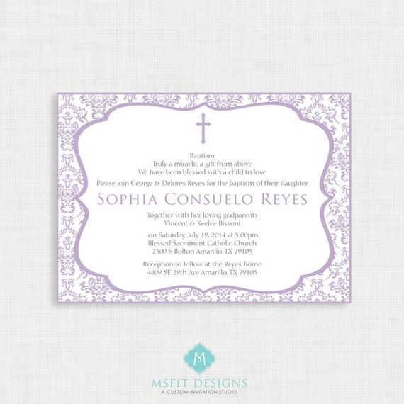 Printable Baptism Invitation Lavender Invite
