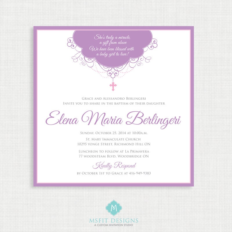printable baptism invitation girl baptism invitation baby