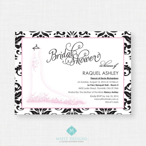 Printable Bridal Shower Invitation - Wedding dress invitation, Printable, Wedding, Black and Pink, Bridal Gown, Script