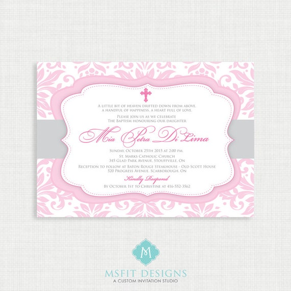 Printable Baptism Invitation- Girls Baptism Invitation - Baby Dedication, First Communion, Confirmation, Christening - Printable invitation